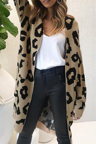 brown and black animal leopard patterned knit slouchy cardigan jacket knitwear