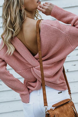 dusty pink open back twisted knot knitwear sweater