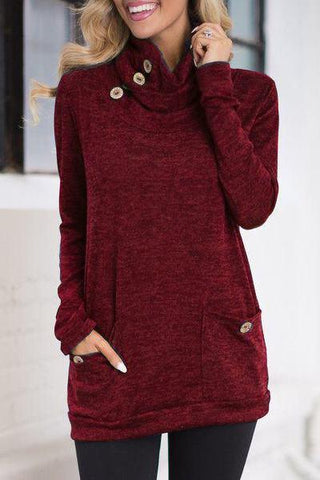 maroon burgundy wine red cowl neck button detail fall knitwear jersey sweater