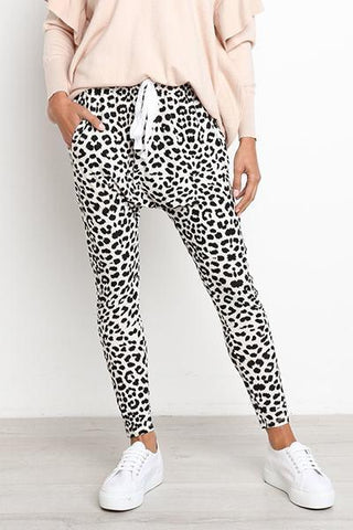 white and black leopard animal print drawstring sweatpants harem pants