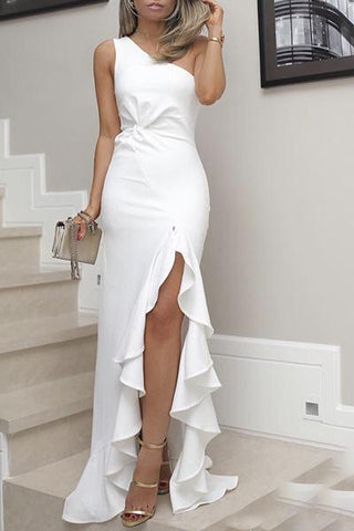 White Ruffle Gown