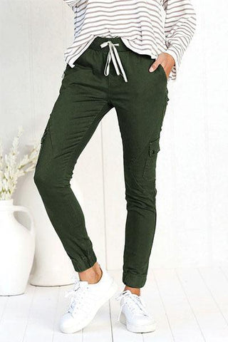 army green slim fit ladies military cargo pants