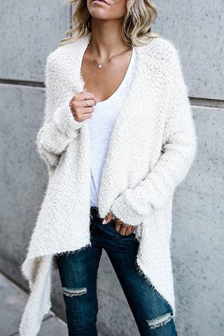 white fluffy asymmetric irregular hemline soft knitted long handkerchief cardigan