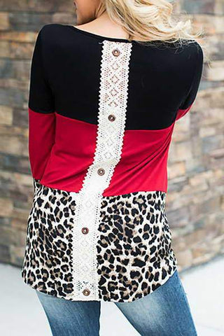 Red Lace Leopard Top