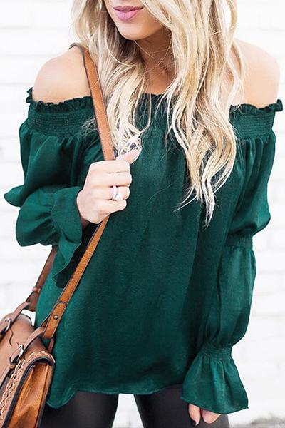 trumpet-sleeve-off-shoulder-black-green-blending-top-molypretty