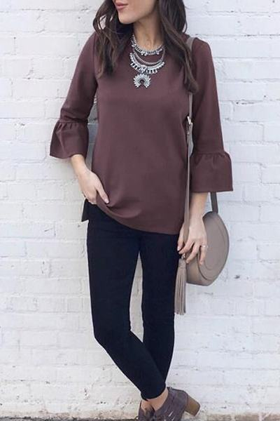 dusty-mauve-purple-flounce-sleeve-round-neck-plain-tunic-blouse-top