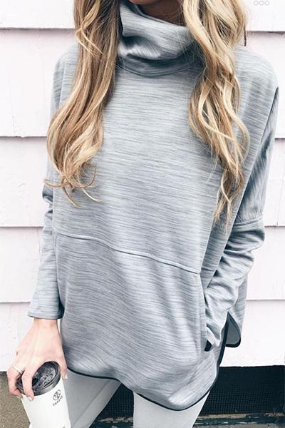 long-sleeve-cowl-neck-laid-back-solid-gray-color-sweatshirt-tunic-top