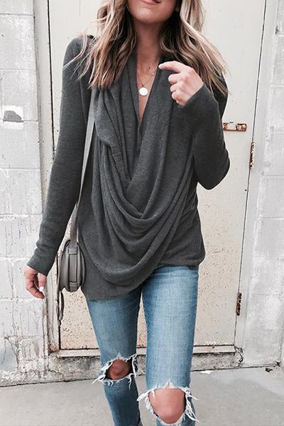 Gray Draped Twist Top