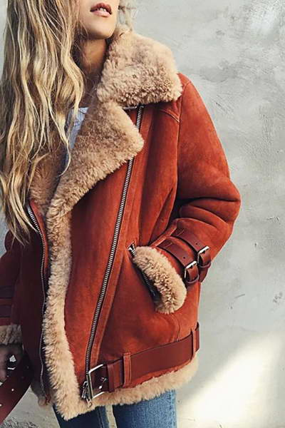 buckle-sleeve-wide-faux-fur-lapel-collar-short-shearling-flight-jacket