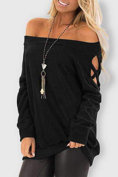 cut-out-sleeve-t-shirt-off-shoulder-solid-color-bardot-sweatshirt-top