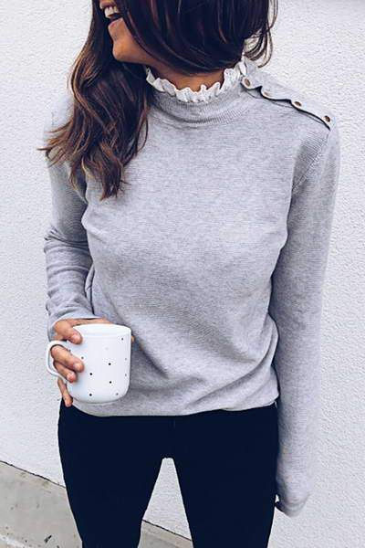 long-sleeve-turtle-ruffle-neck-solid-color-asymmetric-button-sweater