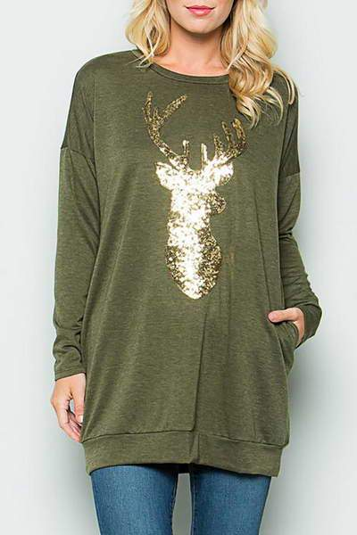 Sparkly Reindeer Top
