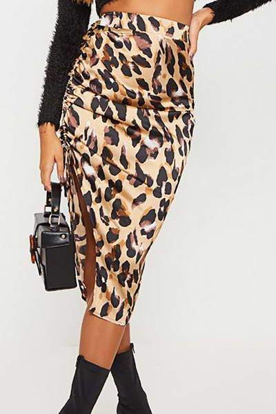 high-waist-slim-fit-knee-length-animal-print-side-ruched-split-skirt