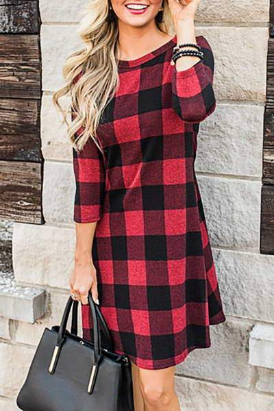 34-length-sleeve-round-neck-plaid-short-classic-checked-dress