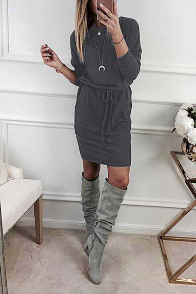 bracelet-sleeve-boat-neck-short-plain-drawstring-wast-jersey-dress