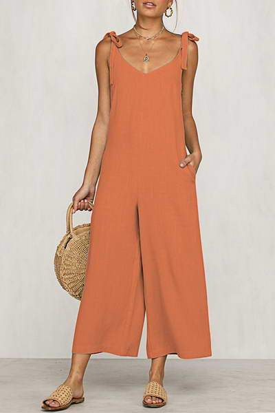 sleeveless-scoop-neck-tie-shoulder-romper-cropped-plain-jumpsuit