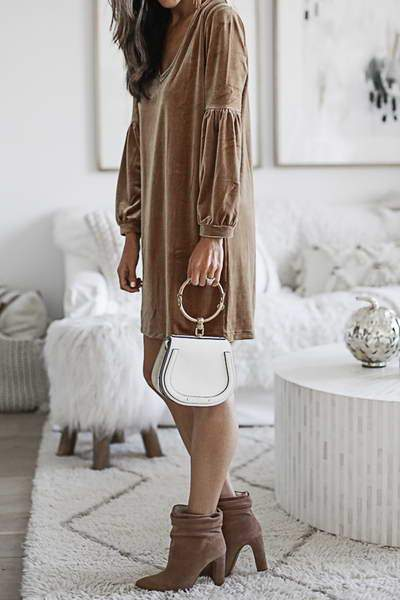 Velour Tunic Shift Dress