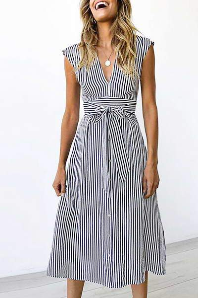 cap-sleeve-v-neck-calf-length-pinstripe-belted-bow-shirt-midi-dress