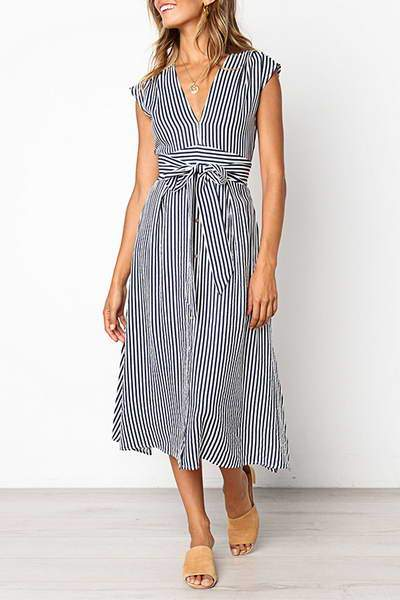 Pinstripe Bow Dress