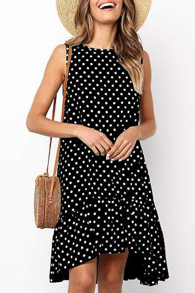 sleeveless-boat-neck-short-polka-dot-drop-waist-ruffle-hem-dress