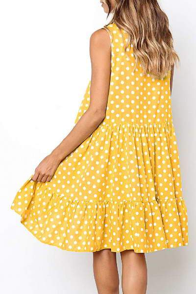 Spotty Drop Waist Dress