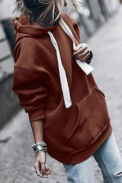 cuff-sleeve-hooded-top-w-drawstring-long-casual-solid-color-sweatshirt