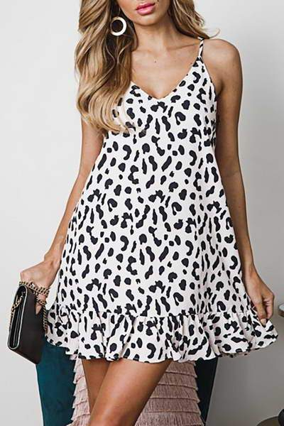 Printed Ruffle Hem Dress