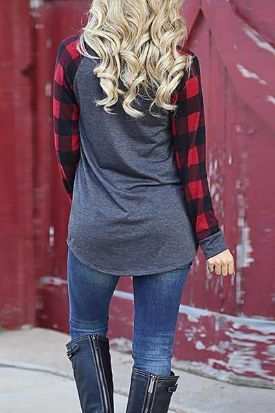Contrast Plaid Sleeve T-Shirt