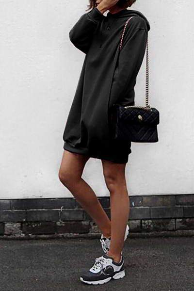 long-sleeve-hooded-short-casual-solid-color-mini-sweatshirt-dress
