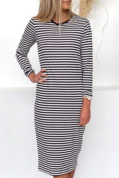 long-sleeve-round-neck-calf-length-striped-bow-tie-back-midi-dress