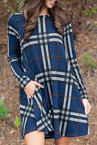 bracelet-sleeve-round-neck-short-stylish-plaid-tunic-swing-dress