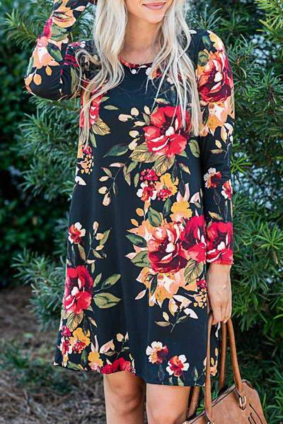 long-sleeve-round-neck-short-boho-flower-print-tunic-swing-dress