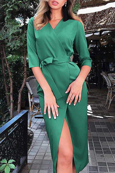 34-length-sleeve-v-neck-knee-length-chic-solid-color-wrap-day-dress