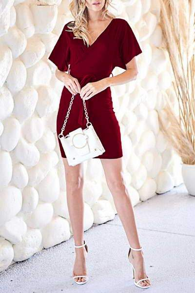 butterfly-sleeve-v-neck-short-elegant-solid-color-belted-mini-dress