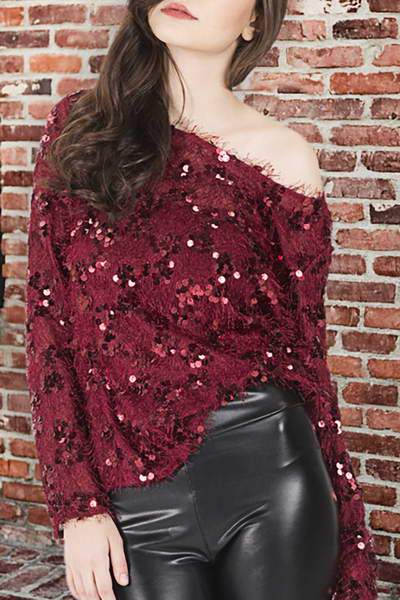 Fluffy Sequined Top