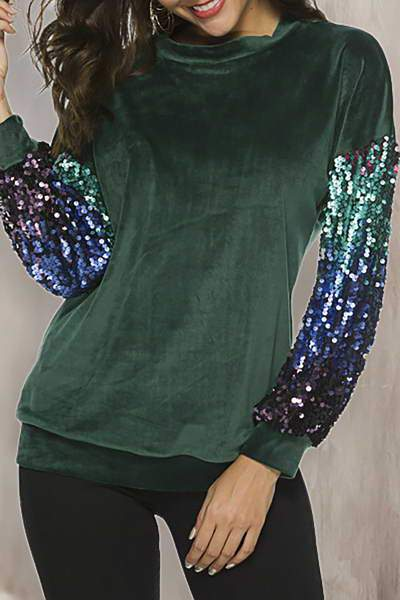 contrast-sleeve-crew-neck-faux-velour-luxe-sequined-sweatshirt