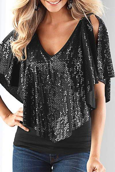 sequin-butterfly-sleeve-v-neck-blouse-metallic-handkerchief-top