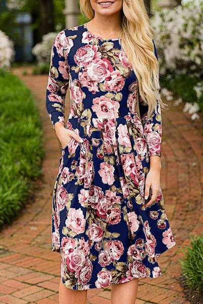 long-sleeve-round-neck-knee-length-girly-floral-print-day-dress