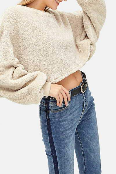 Brown Cropped Fleece