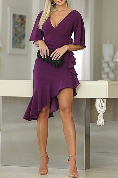 butterfly-sleeve-v-neck-multi-length-elegant-plain-asymmetric-dress
