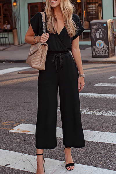 short-sleeve-v-neck-drawstring-cropped-solid-color-romper-jumpsuit