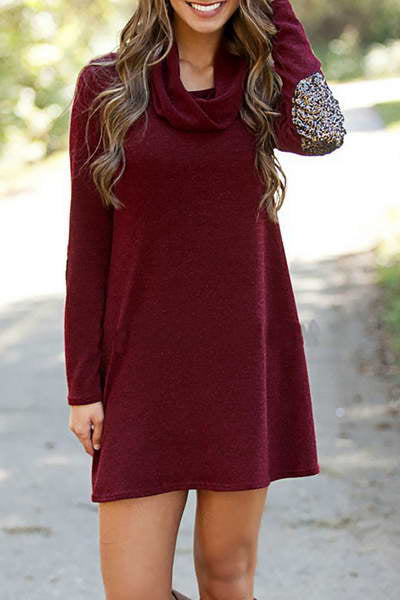 sparkly-elbow-patch-cowl-neck-short-cute-plain-burgundy-tunic-dress