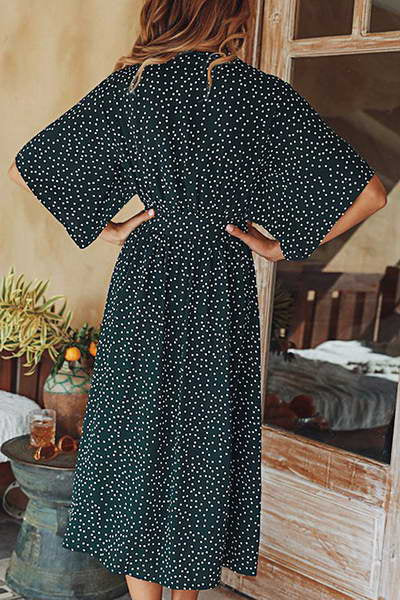 batwing-sleeve-deep-v-neck-knee-length-feminine-polka-dot-dress