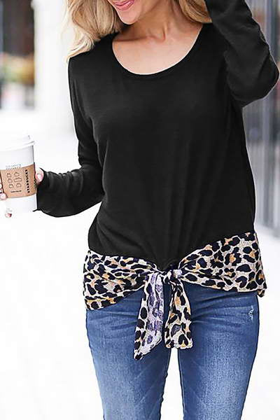 long-sleeve-round-neck-knotted-funky-leopard-print-hem-t-shirt