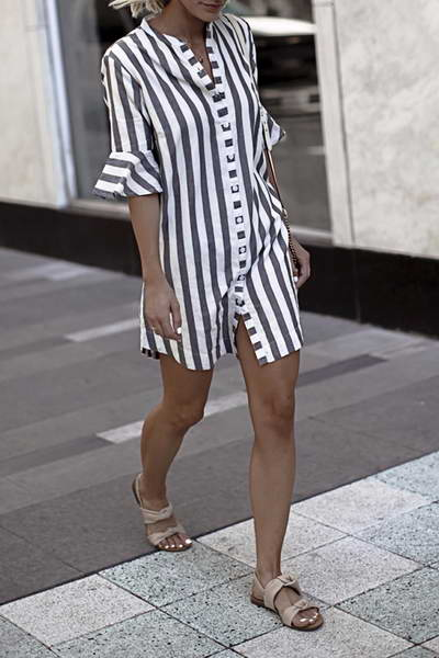 White & Gray Shirt Dress