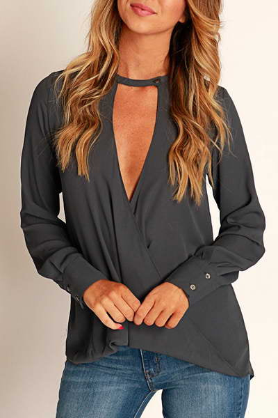 long-sleeve-v-neck-round-choker-collar-blouse-chic-plain-smock-top