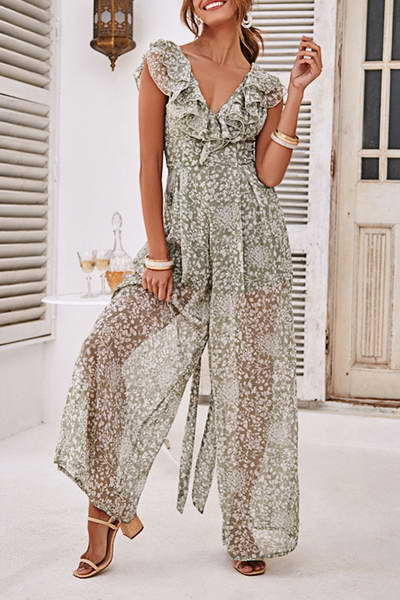 sleeveless-v-neck-long-romper-ruffled-romantic-floral-sprig-jumpsuit