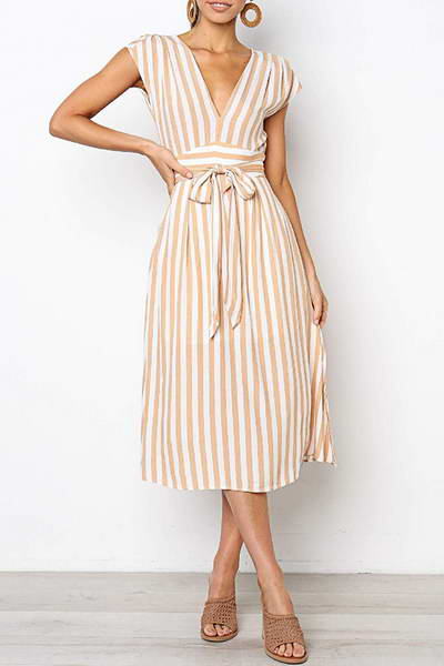 sleeveless-v-neck-knee-length-feminine-stripy-a-line-midi-dress