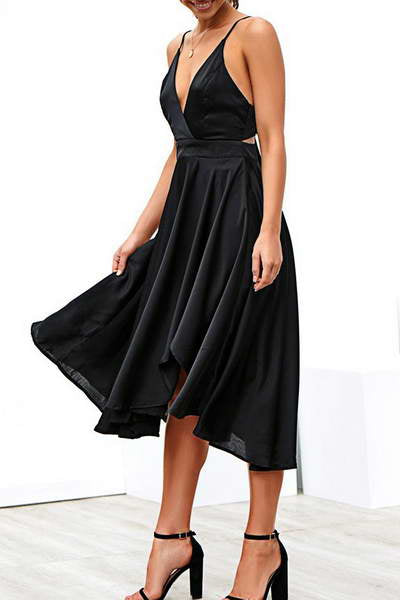 sleeveless-deep-v-neck-calf-length-luxe-plain-flared-cocktail-dress