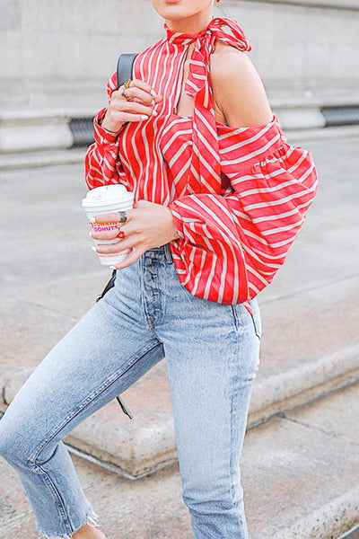 Red & White Cut Blouse